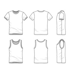 Templates of t-shirt and vest vector