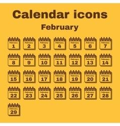 The calendar icon February symbol Flat vector image vector image