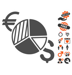 currency pie chart icon with valentine bonus vector image vector image