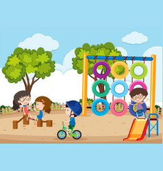 happy children playing in the playground vector image