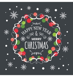 Inscription Happy New Year and Merry Christmas vector image vector image