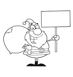 Santa with sign cartoon vector image vector image