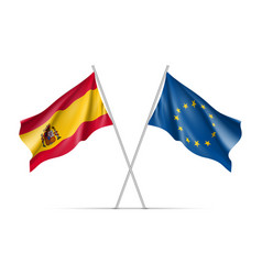 spain and european union waving flags vector image vector image