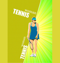 woman tennis r poster colored for designers vector image