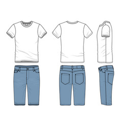 clothing set of t-shirt and jeans vector image vector image