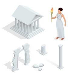 Isometric Greek temple Greek goddess of beauty vector image