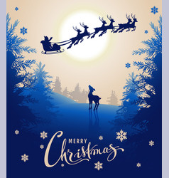 merry christmas card design text young deer looks vector image vector image