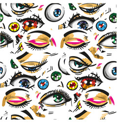 pop art seamless pattern with eyes vector image vector image