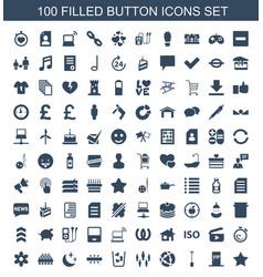 100 button icons vector