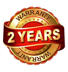 2 year warranty golden label with ribbon vector