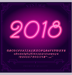 2018 happy new year holiday bright neon alphabet vector