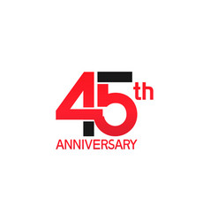 45 years anniversary logotype with black and red vector
