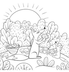 A children coloring bookpage two foxes pick vector