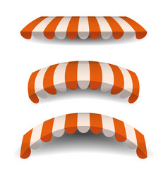 A set of striped orange white awnings canopies vector