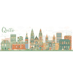 Abstract Quito Skyline with Color Buildings vector image