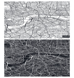 Aerial top view city map london black and white vector