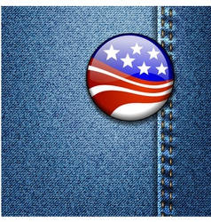 American USA Flag Badge On Jeans Denim vector image
