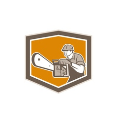 Arborist Lumberjack Operating Chainsaw Shield vector image