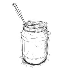 Artistic or drawing of jam marmalade or honey jar vector