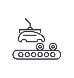 Assembly car conveyor line icon sign vector