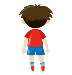 Back of boy in red shirt vector