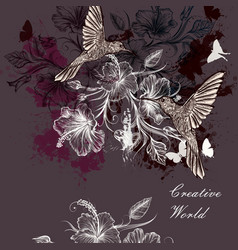 background or with birds and flowers vector image