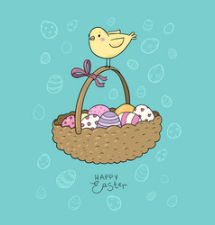 basket with easter eggs and chicken greeting card vector image