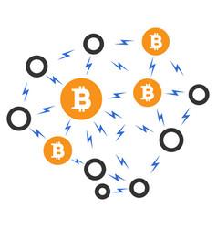 Bitcoin lightning network flat icon vector