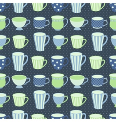 Blue cups pattern vector