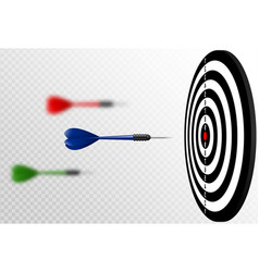 blue dart arrows flying to target dartboard vector image