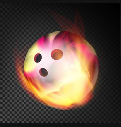 Bowling ball in fire realistic burning vector