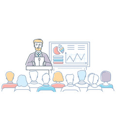 business conference - modern line design style vector image