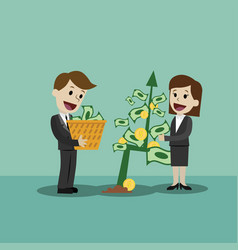 businessman and businesswoman looking for growth vector image
