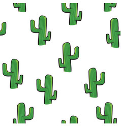 cactus seamless pattern isolated on white vector image