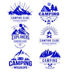 Camping logo templates blue retro sketch vector