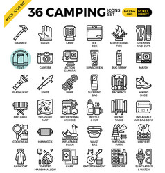 camping outline icons vector image