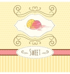 Candies hand drawn card with vector image