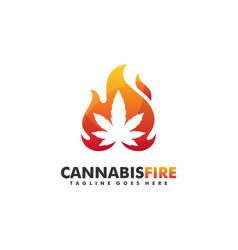 cannabis fire concept design template vector image