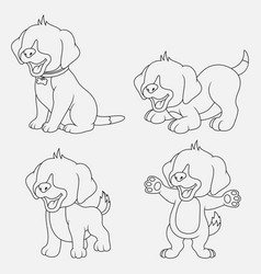 cartoon dogs thin lines with different poses and e vector image