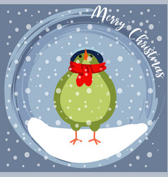christmas card with little dressed bird vector image