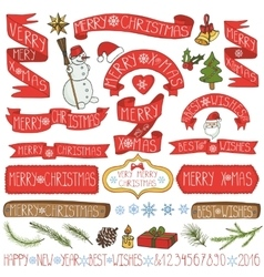 Christmas decorationribbonslabelslettering vector