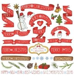 Christmas decorationribbonslabelslettering vector image