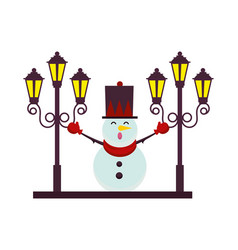 christmas snowman with street lamps character vector image