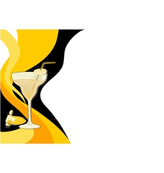 Cocktail black and yellow card vector