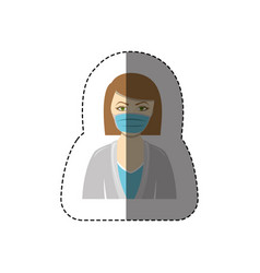 Color sticker with half body of nurse with mouth vector