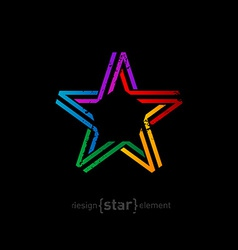 colorful star from ribbon with vintage effect on vector image