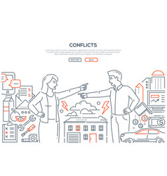 conflicts - line design style banner with place vector image