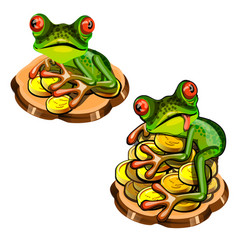 cute green tree frog with a red tongue stole a vector image