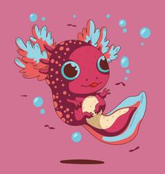 Cute small big eyes axolotl vector