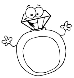 Diamond ring cartoon vector